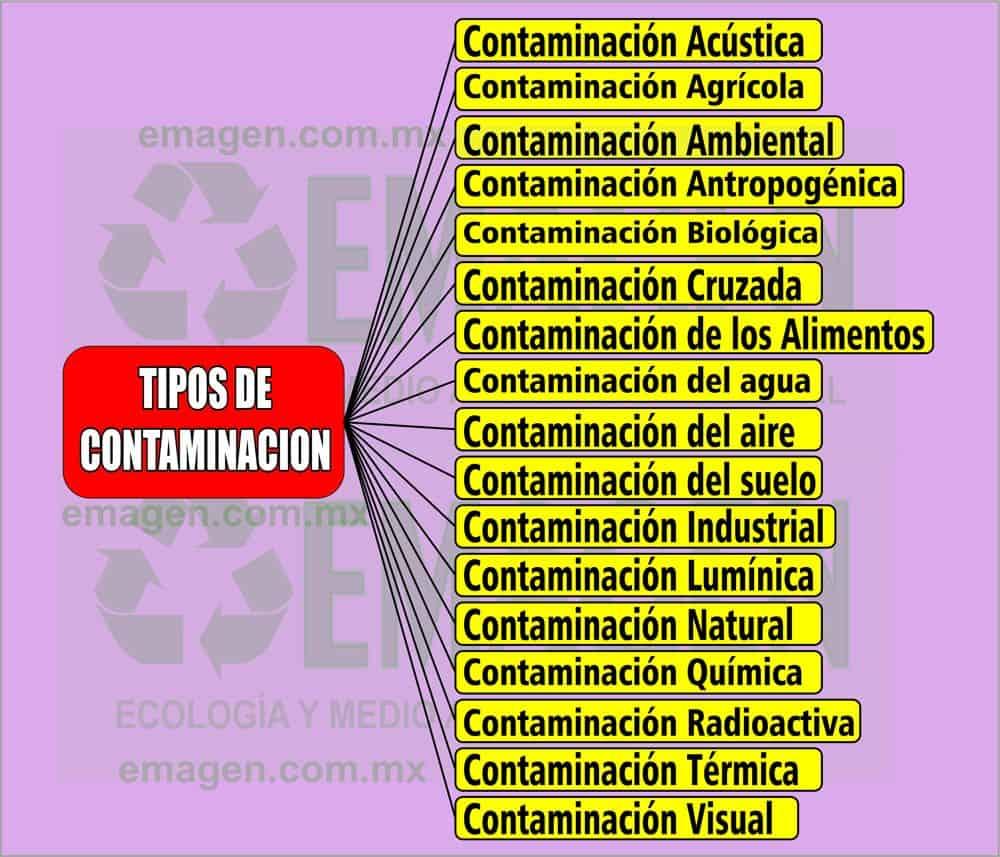 cuales son los tipos de contaminación